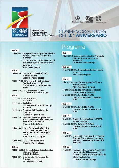 Programación del II aniversario de la Eurocidad del Guadiana.